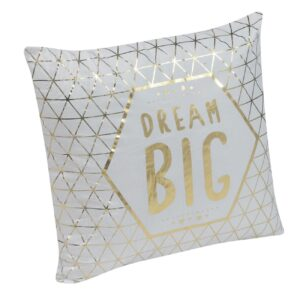 Perna decorativa alba cu auriu DREAM BIG