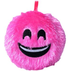 Perna decorativa bila pufoasa smiley fuchsia 15 cm